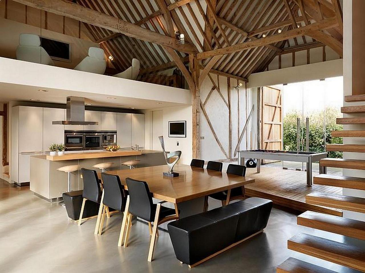 Dwukondygnacyjny salon czyli wn trza kt re inspiruj projekt stodo a for Barn conversion kitchen designs