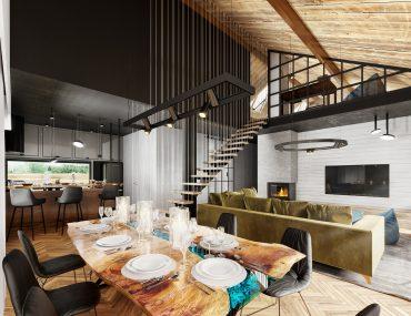 salon nowoczesna stodoła