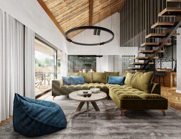 wysoki salon nowoczesna stodoła