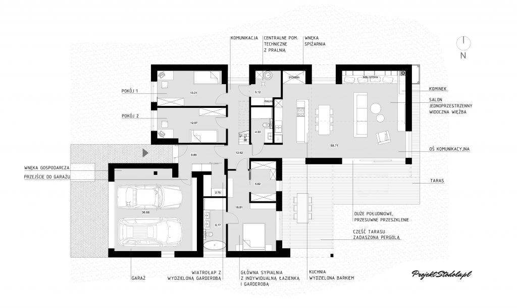 dom parterowy rzut nowoczesna stodoła
