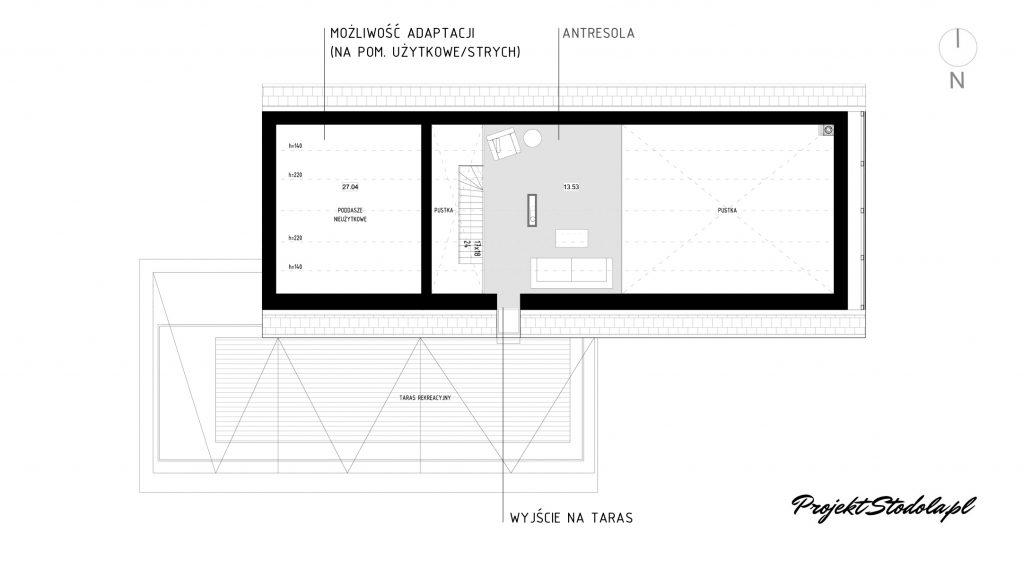 dom parterowy antresola nowoczesna stodoła